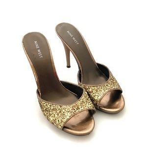 "Nine West - Glittery gold bronze heels - 3.5"""